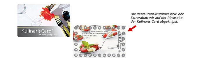 2 für 1 Gutscheinbuch im handlichen Scheckkartenformat Kulinaris Card