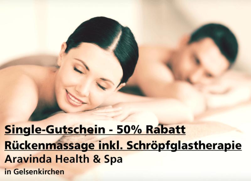 Single-Gutschein 50% Rabatt - Rückenmassage (30 min.) inkl. Schröpfglastherapie - Aravinda Health & Spa - Nach Ausdruck maximal