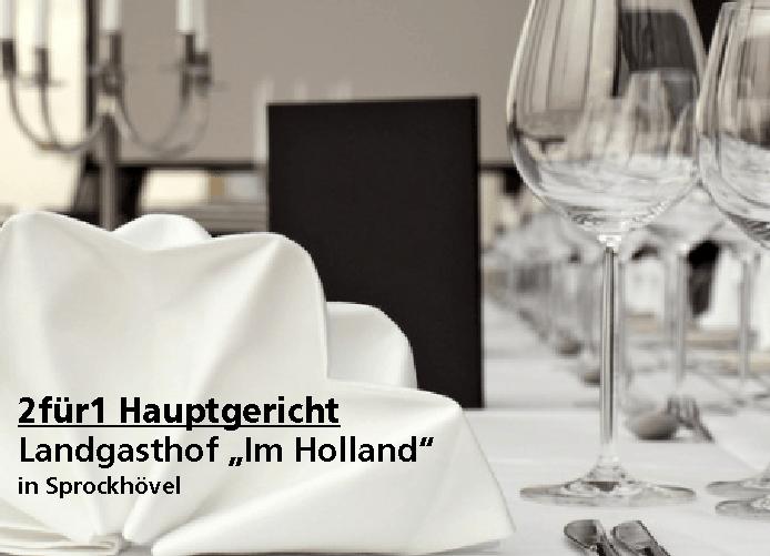 """2 für 1 Gutschein Hauptgericht - Landgasthof """"Im Holland"""" in Sprockhövel"""