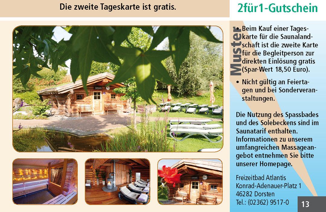 2 für 1 Gutschein Ruhrgebiet Freizeitbad Atlantis DorstenGutschein Sauna Freizeitbad Atlantis