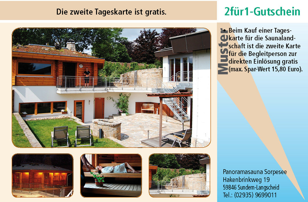 2 für 1 Gutschein-Ruhrgebiet-Panoramasauna-Sorpesee