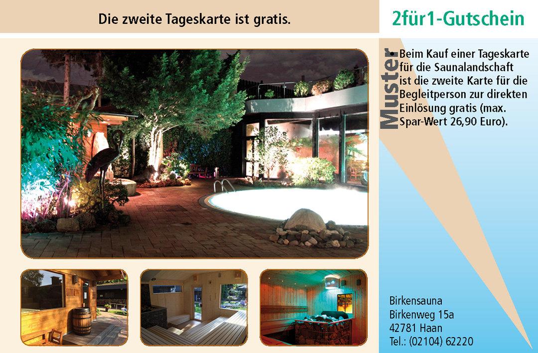 2 für 1 Gutschein-Ruhrgebiet-Sauna-Birkensauna-Haan