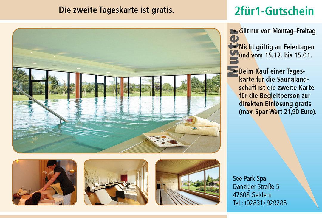 2 für 1 Gutschein-Ruhrgebiet-Sauna-See-Park-Spa-Janssen-Geldern