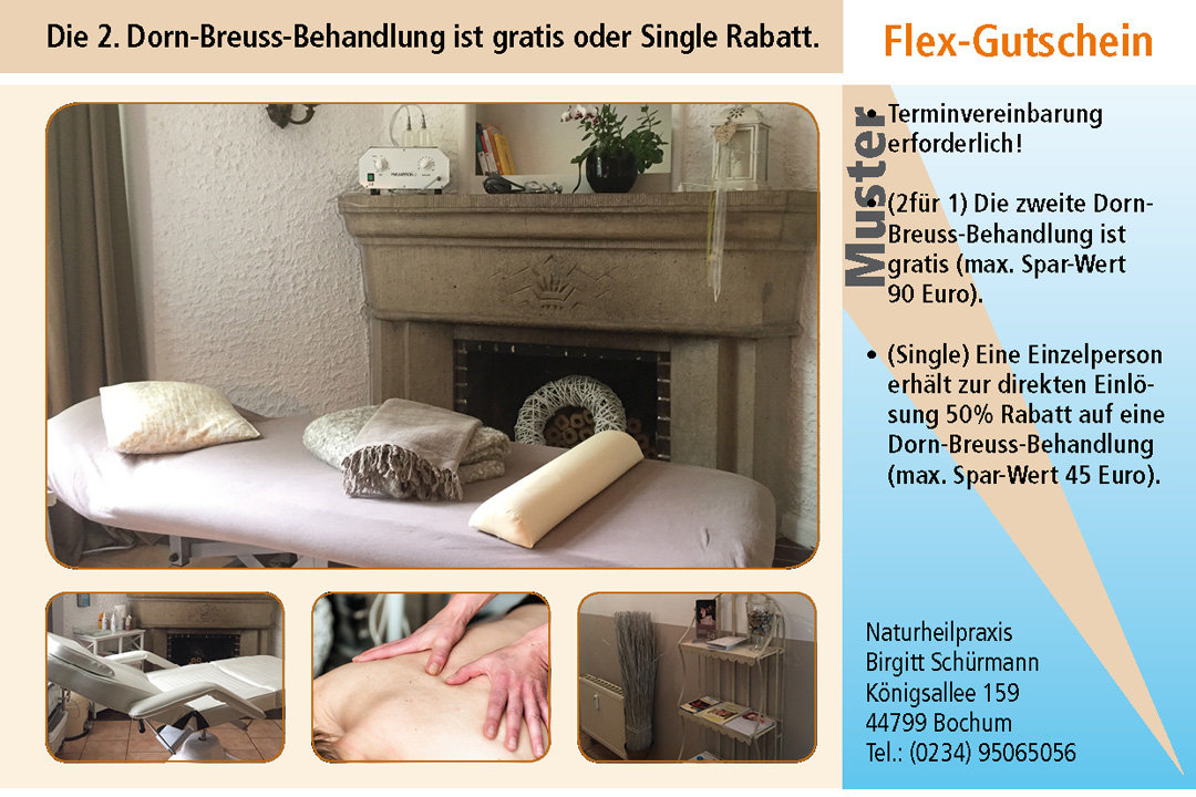 2 für 1 Gutschein Ruhrgebiet Naturheilpraxis-Birgit-Schuermann