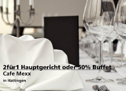 2für1 Gutschein Hauptgericht oder Frühstücksbuffet/Brunch mit 50% - Cafe Mexx in Hattingen