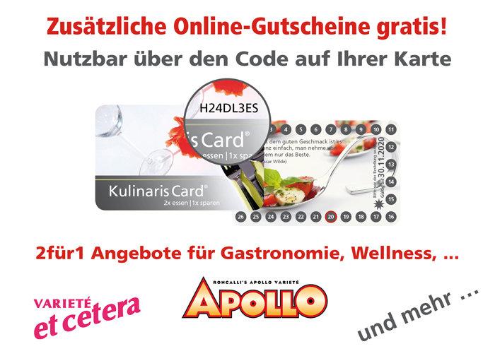 2 für 1 Gutscheinbuch im handlichen Scheckkartenformat online Gutschein