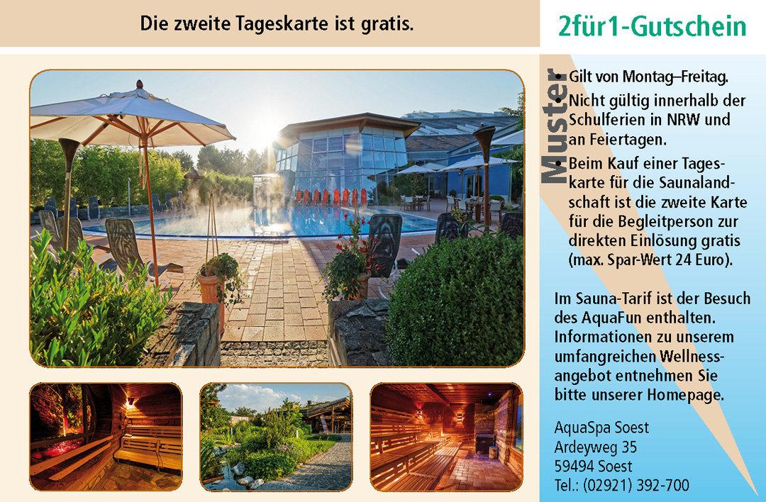 2 für 1 Gutschein-Ruhrgebiet-AquaSpa-Soest