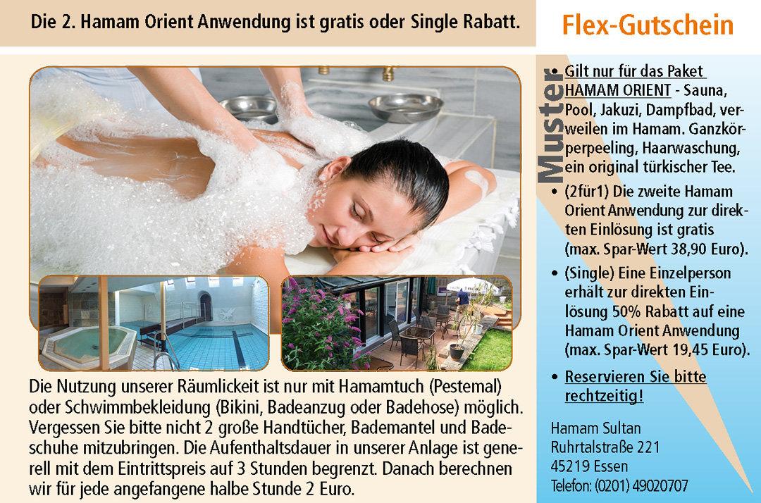 2 für 1 Gutschein Ruhrgebiet Hamam Sultan EssenGutschein Hamam Sultan im Ruhrgebiet