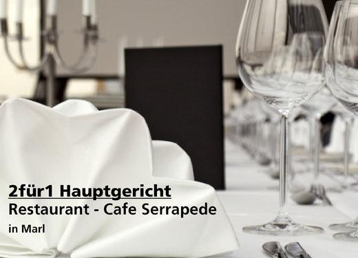 2 für 1 Gutschein Hauptgericht - Restaurant - Cafe Serrapede im Tennisclub TG- Hüls in Marl